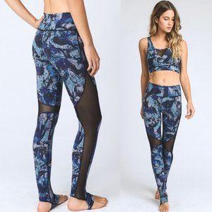 MONO B AP1667 Blue Side Mesh Stirrups Yoga Pants